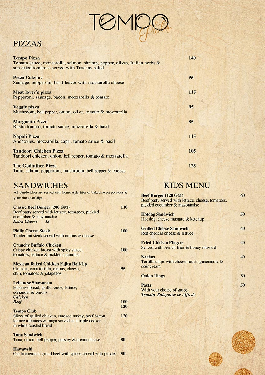 A food menu from Tempo - page 2